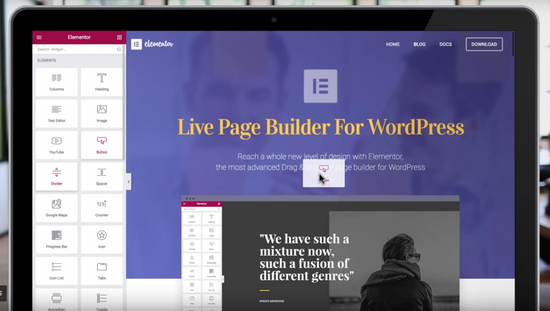elementor page builder with drag and drop