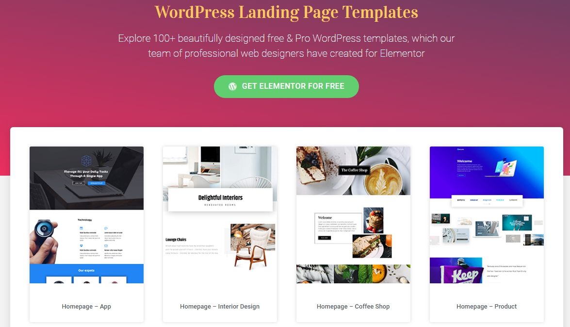 wordpress page builder templates by elementor