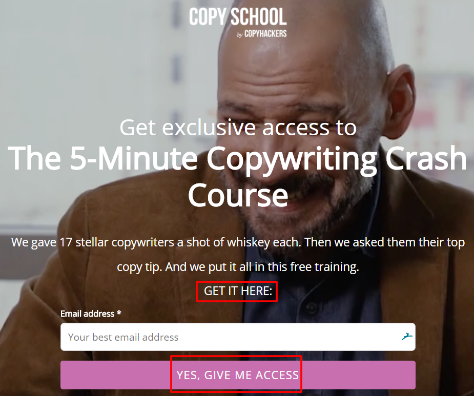 Example of direct response copywriting from Copyhackers newsletter sign up